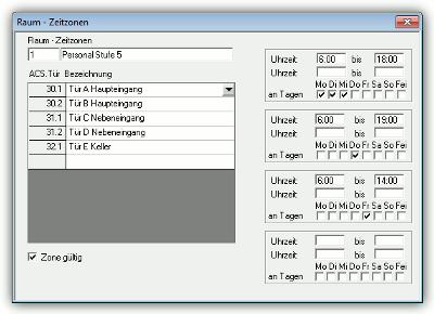 NovaTime Zutrittskontrolle Raum-/Zeitzonen